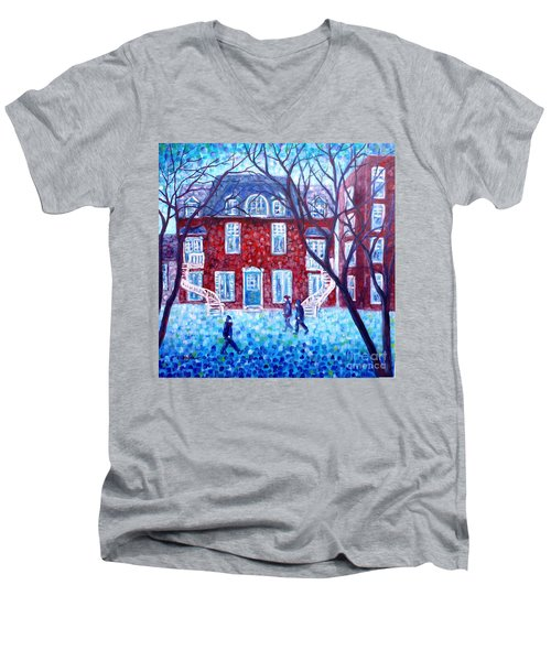Red House In Montreal - Cityscape Men's V-Neck T-Shirt