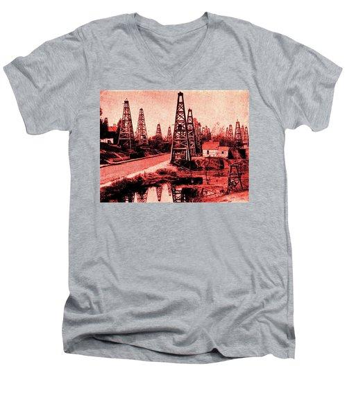 Men's V-Neck T-Shirt featuring the drawing Red Indiana Oil Wells Circa 1900 by Peter Gumaer Ogden