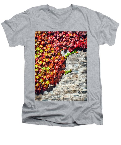Men's V-Neck T-Shirt featuring the photograph Red Ivy On Wall by Silvia Ganora