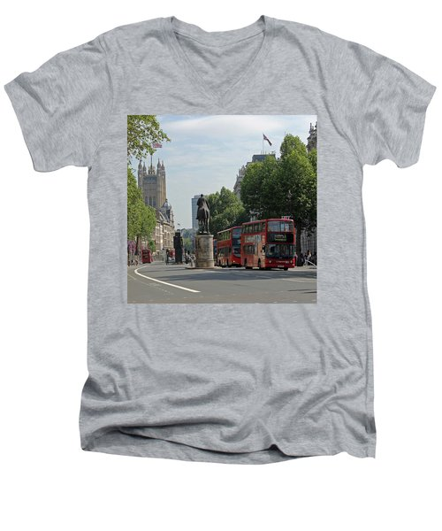 Red London Bus In Whitehall Men's V-Neck T-Shirt by Tony Murtagh