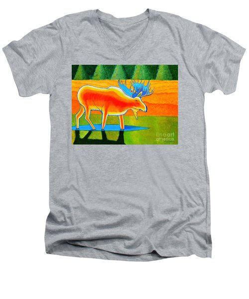 Men's V-Neck T-Shirt featuring the painting Red Moose by Joseph J Stevens