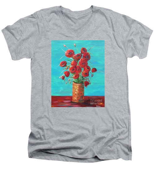 Men's V-Neck T-Shirt featuring the painting Red On My Table  by Eloise Schneider