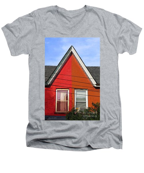 Men's V-Neck T-Shirt featuring the photograph Red-orange House by Nina Silver