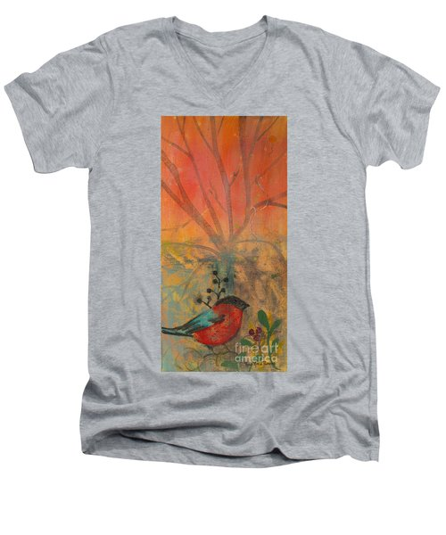 Red Peace Bird Men's V-Neck T-Shirt