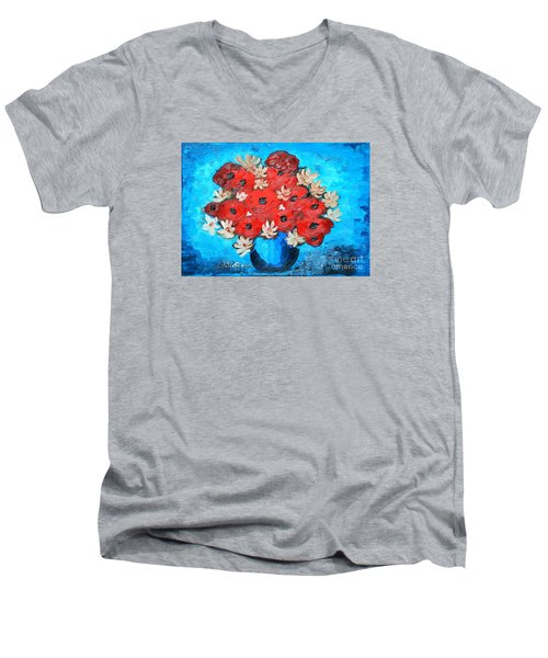 Men's V-Neck T-Shirt featuring the painting Red Poppies And White Daisies by Ramona Matei