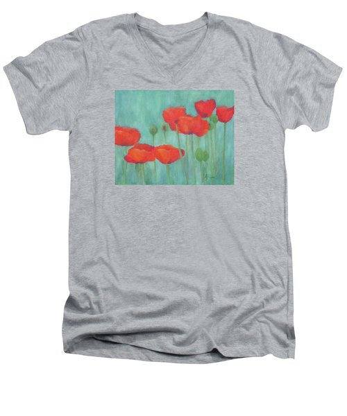 Red Poppies Colorful Poppy Flowers Original Art Floral Garden  Men's V-Neck T-Shirt