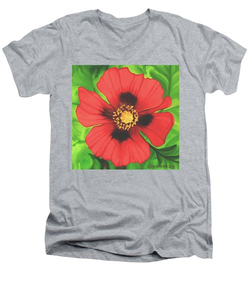 Red Poppy Men's V-Neck T-Shirt by Sophia Schmierer