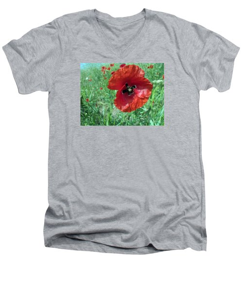 Men's V-Neck T-Shirt featuring the photograph Red Poppy by Vesna Martinjak