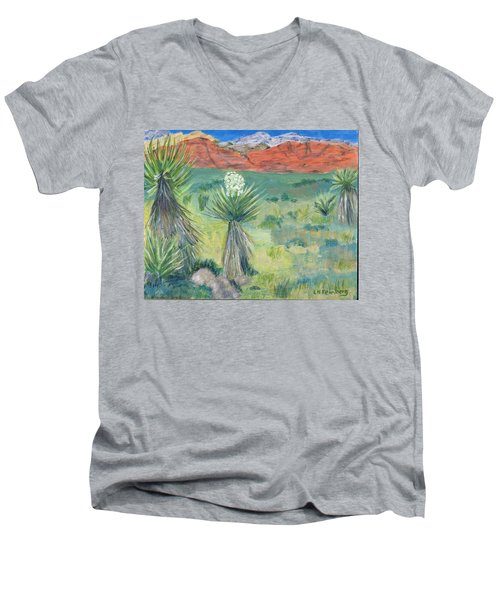 Red Rock Canyon With Yucca Men's V-Neck T-Shirt