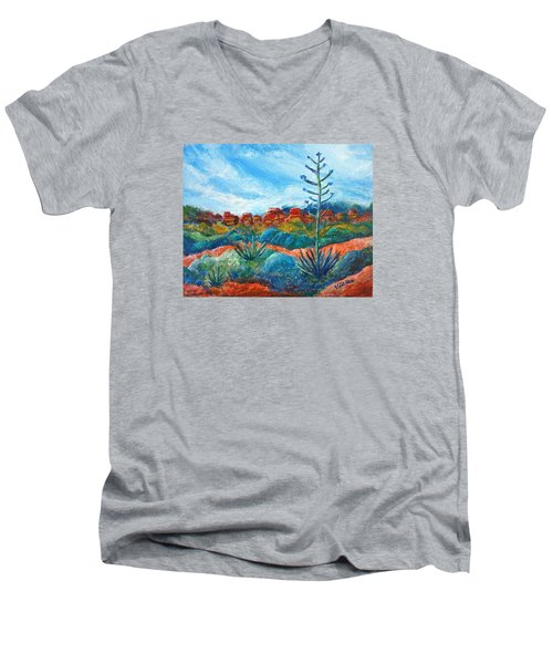 Men's V-Neck T-Shirt featuring the painting Red Rocks by Victoria Lakes