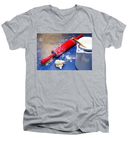 Red Rolling Pin Men's V-Neck T-Shirt