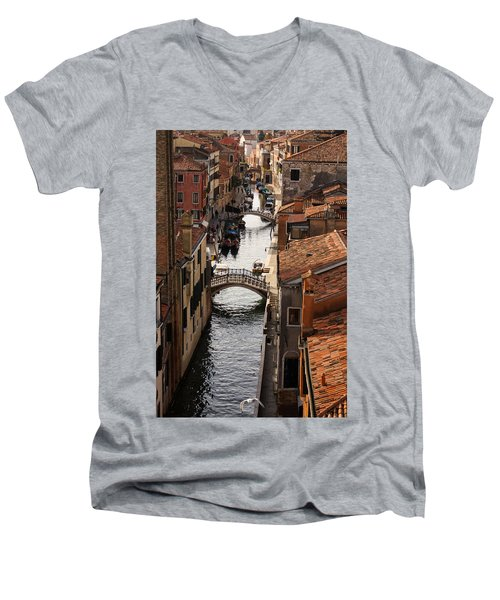 Red Roofs Of Venice Men's V-Neck T-Shirt