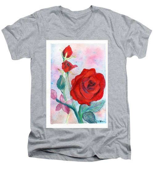 Red Roses Men's V-Neck T-Shirt by C Sitton