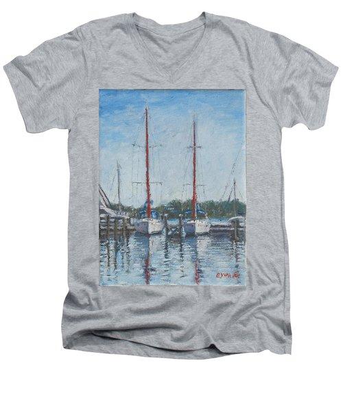 Red Sails Under Gray Sky Men's V-Neck T-Shirt