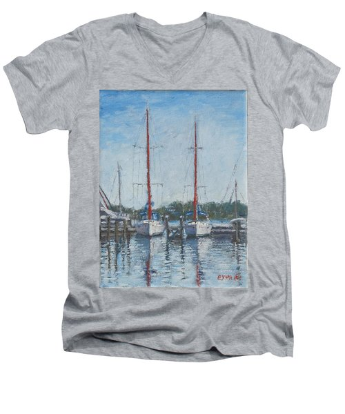 Red Sails Under Gray Sky Men's V-Neck T-Shirt