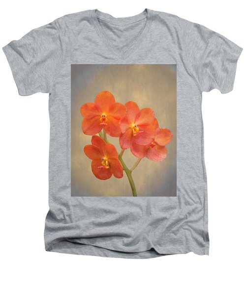Red Scarlet Orchid On Grunge Men's V-Neck T-Shirt