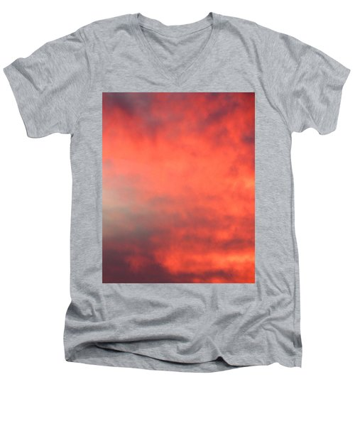 Red Sky At Night Men's V-Neck T-Shirt by Laurel Powell