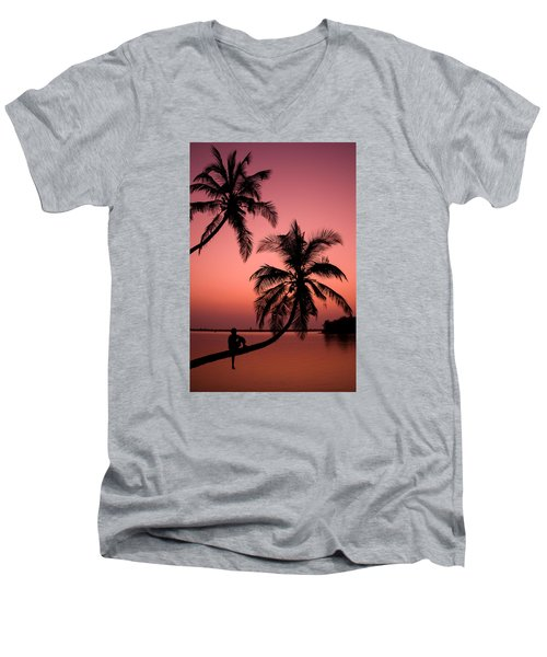 Red Sunset In The Tropics Men's V-Neck T-Shirt