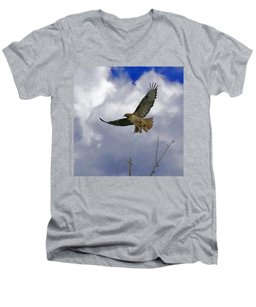 Red Tail Hawk Digital Freehand Painting 1 Men's V-Neck T-Shirt