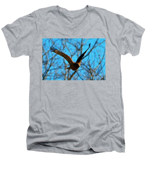 Men's V-Neck T-Shirt featuring the photograph Red Tail Hawk In Flight by Peggy Franz