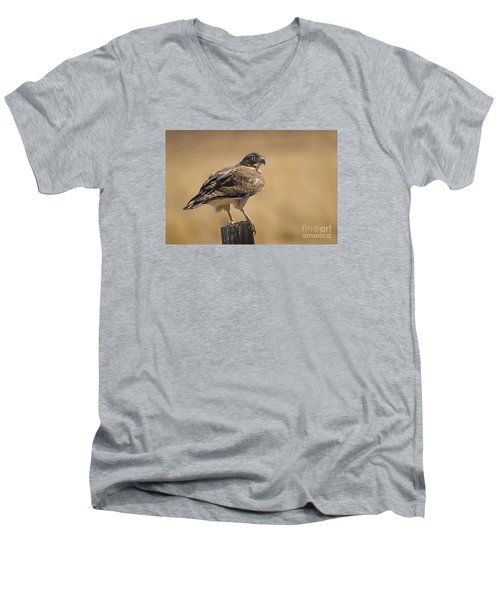 Men's V-Neck T-Shirt featuring the photograph Red Tailed Hawk Watching by Janis Knight
