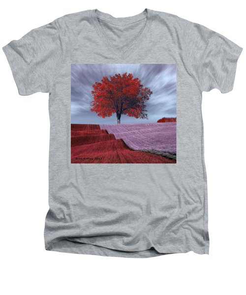 Men's V-Neck T-Shirt featuring the painting Red Tree In A Field by Bruce Nutting