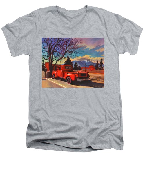 Men's V-Neck T-Shirt featuring the painting Red Truck by Art James West