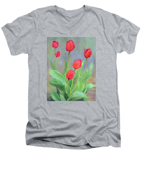 Red Tulips Colorful Painting Of Flowers By K. Joann Russell Men's V-Neck T-Shirt by Elizabeth Sawyer