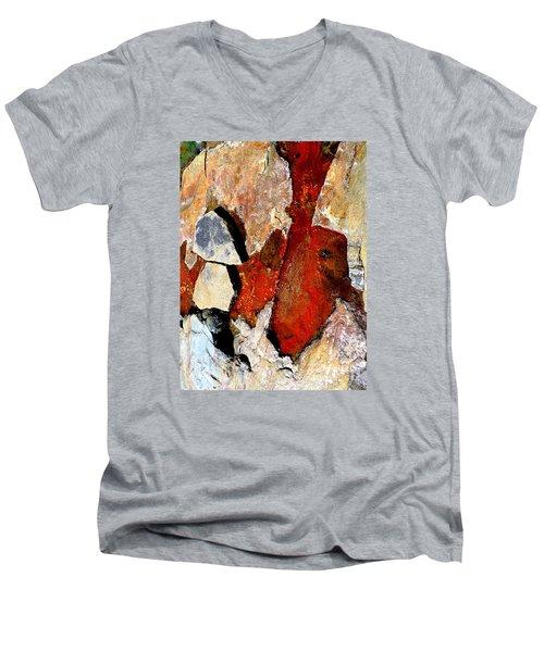 Red Veins Men's V-Neck T-Shirt by Marcia Lee Jones