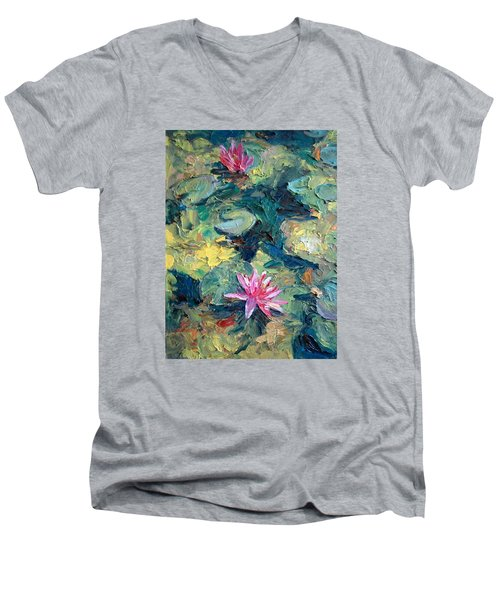 Men's V-Neck T-Shirt featuring the painting Red Waterlily  by Jieming Wang