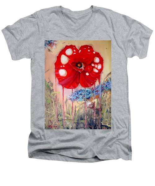 Men's V-Neck T-Shirt featuring the painting Red Weed Red Poppy by Daniel Janda