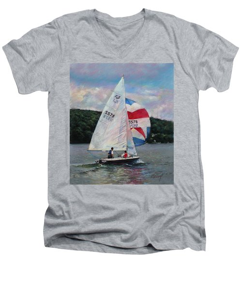 Men's V-Neck T-Shirt featuring the drawing Red White And Blue Sailboat by Viola El