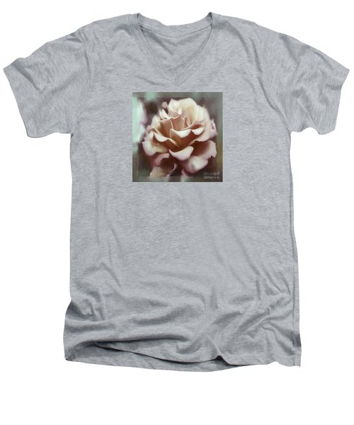 Men's V-Neck T-Shirt featuring the photograph Red White Rose by Jean OKeeffe Macro Abundance Art