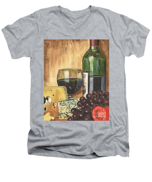 Red Wine And Cheese Men's V-Neck T-Shirt by Debbie DeWitt