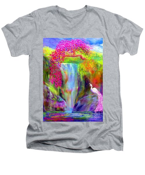 Waterfall And White Peacock, Redbud Falls Men's V-Neck T-Shirt