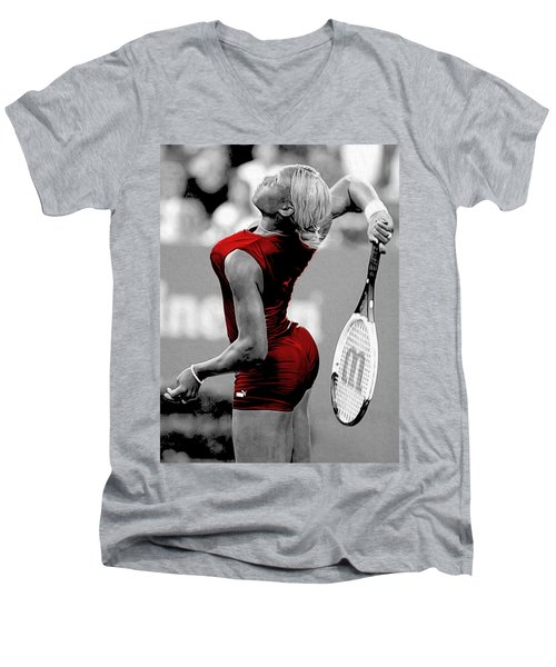 Men's V-Neck T-Shirt featuring the photograph Red Cat Suit by Brian Reaves