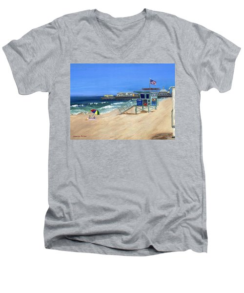 Redondo Beach Lifeguard  Men's V-Neck T-Shirt by Jamie Frier