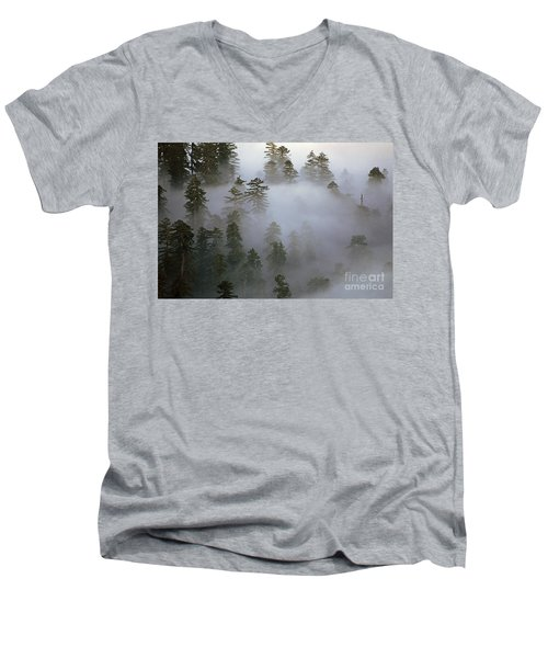 Redwood Creek Overlook With Giant Redwoods  Men's V-Neck T-Shirt