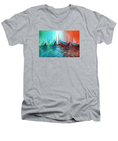 Reflecting Down Men's V-Neck T-Shirt