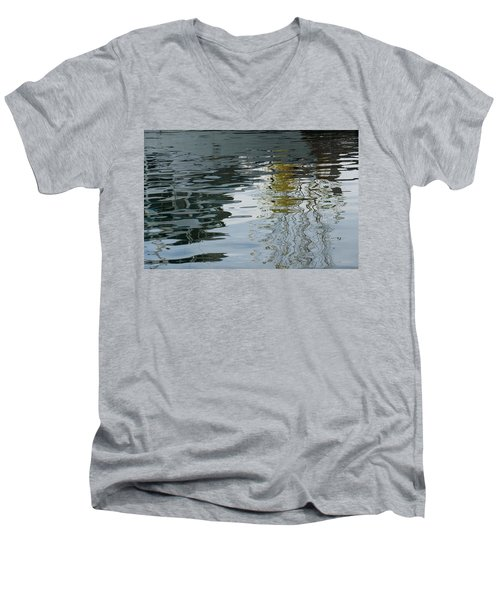 Men's V-Neck T-Shirt featuring the photograph Reflecting On Autumn Trees by Georgia Mizuleva