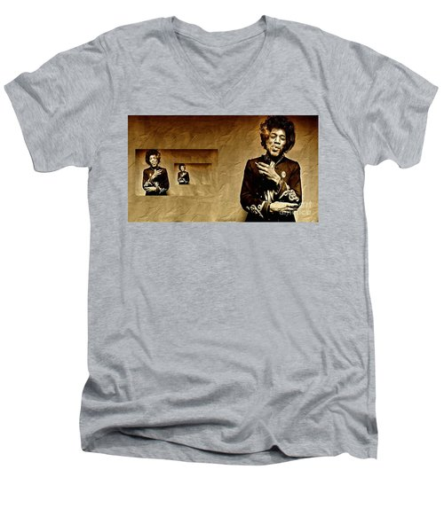 Reflecting On Jimi Hendrix  Men's V-Neck T-Shirt
