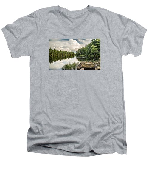 Men's V-Neck T-Shirt featuring the photograph Reflection Lake In New York by Debbie Green