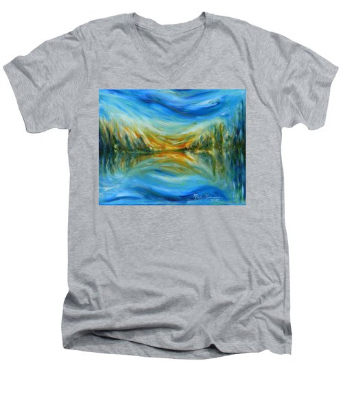 Reflection Men's V-Neck T-Shirt by Mark Minier