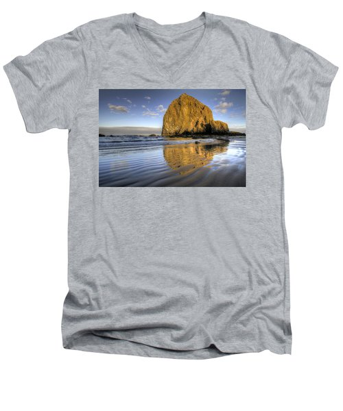 Reflection Of Haystack Rock At Cannon Beach 2 Men's V-Neck T-Shirt