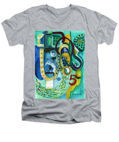 Reflective #5 Men's V-Neck T-Shirt