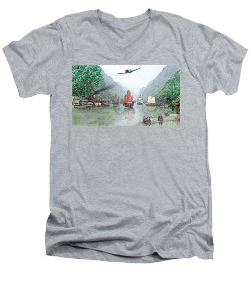 Refugees On The Yangtze Men's V-Neck T-Shirt