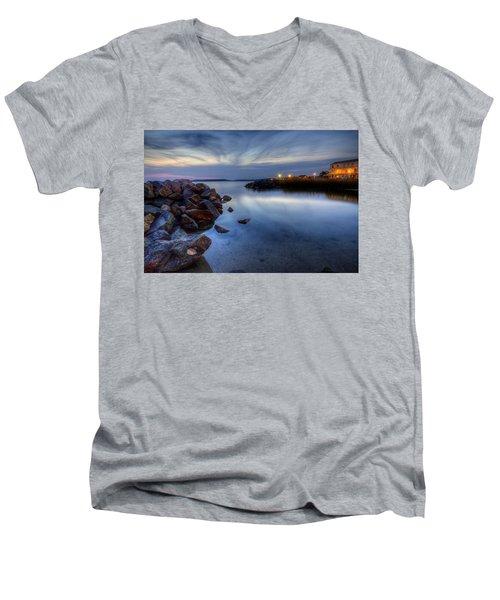 Rehoboth Bay Sunset At Dewey Beach Men's V-Neck T-Shirt