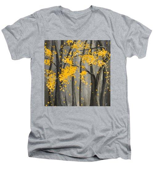 Rejuvenating Elements- Yellow And Gray Art Men's V-Neck T-Shirt
