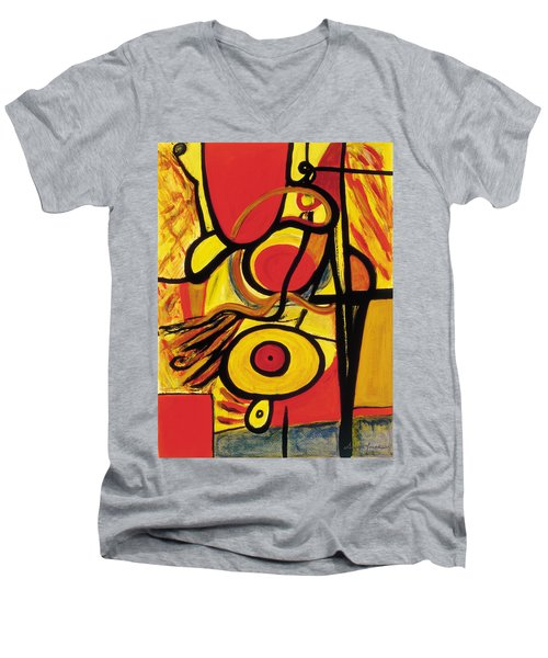 Men's V-Neck T-Shirt featuring the painting Relativity 2 by Stephen Lucas