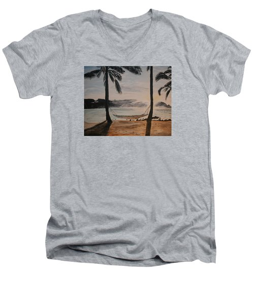 Men's V-Neck T-Shirt featuring the painting Relaxing At The Beach by Ian Donley